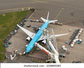 27 January 2018, Amsterdam, Holland. Aerial view at Schiphol Airport of a KLM Royal Dutch Airlines airliner Boeing 777 at the gate.