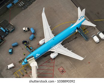 27 January 2018, Amsterdam, Holland. Aerial view at Schiphol Airport of a KLM airliner Boeing 737 at the gate.