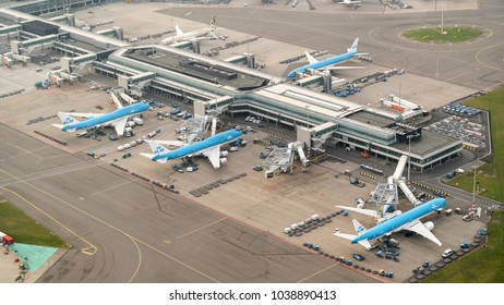 27 January 2018, Amsterdam, Holland. Aerial view at Schiphol Airport of four KLM airliners at the gate.