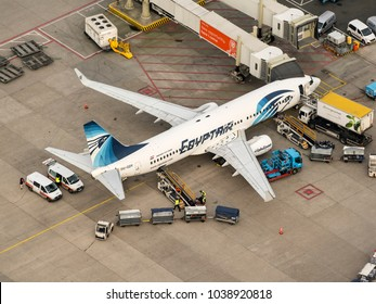 27 January 2018, Amsterdam, Holland. Aerial view at Schiphol Airport of a Egyptair Boeing 737, SU-GDY, at the gate.
