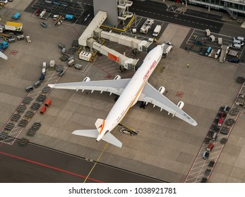 27 January 2018, Amsterdam, Holland. Aerial view at Schiphol Airport of a Surinam Airways Airbus A340 at the gate.