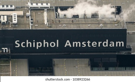 27 January 2018, Amsterdam, Holland. Aerial view at Schiphol Airport of the text logo design Schiphol Amsterdam
