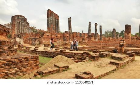 27 January 2018, Ayuthaya, Thailand, tourists taking photos at ancient temple of Ayuthaya Thailand