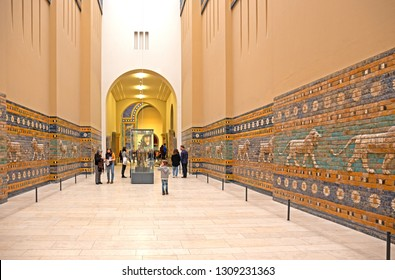 27 January 2019 - Berlin, German:  The Processional way through Ishtar Gate in the inner city of Babylon, constructed in about 575 BC by King Nebuchadnezzar II. Pergamon Museum.