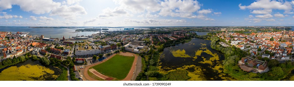 27 July 2019. Germany, Stralsund town aerial panoramic view. Stralsund is a city on the north of Germany on the Baltic Sea, Unesco heritage. Mecklenburg-Vorpommern,Germany