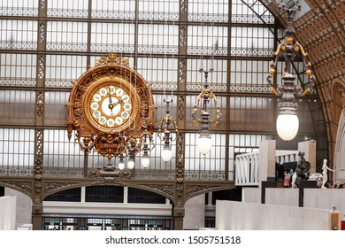 27 July 2019, Paris, France: Famous Clock at the Orsay Museum interior