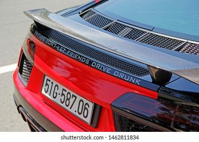 27 July 2019 - Vung Tau City, Vietnam: Tail of an Audi R8 V10 Plus