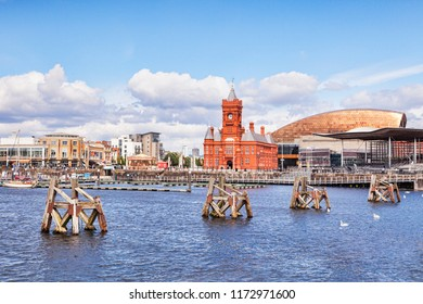 27 June 2016: Cardiff, Wales - Cardiff Bay, with the Waterfront, The Senedd, the Wales Millennium Centre, the Pierhead Building and Mermaid Quay,  Cardiff, Wales, UK