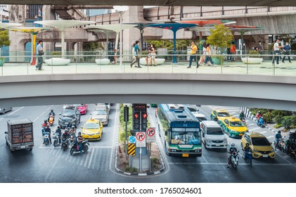27 June 2020 : Difference between skywalk and traffic of Siam square in Bangkok / Thailand