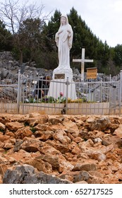 27 march 2009-medjugorje-bosnia- The statue of Virgin Mary in front of the church of Saint James
