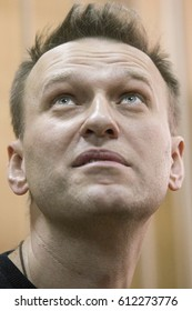 27 March 2017, RUSSIA, MOSCOW : Russian opposition leader Alexei Navalny is seen during the trial of his detention on an unauthorized rally against corruption in the Tverskoy court  in Moscow, Russia.