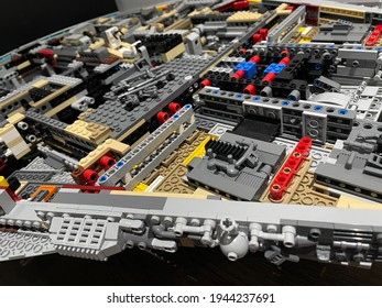 27 March 2021, Kajang, Selangor, Malaysia - unfinished Lego - Millenium Falcon because of pandemic Covid-19