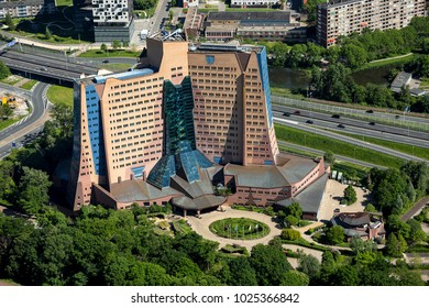 27 May 2017, Groningen, Holland. Aerial view of the Gasunie Gebouw building. Headquarters of a government organisation and example of organic architecture in the Netherlands