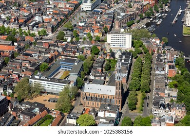 27 May 2017, Groningen, Holland. Aerial view of a police station and the Sint Jozef Kathedraal. It is the church of the diocese Groningen and Leeuwarden.