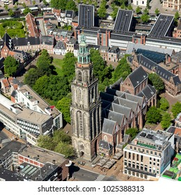27 May 2017, Groningen, Holland. Aerial view of the tower Martini Toren. The Martine Church has been build in the city center.