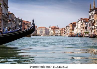 27 May 2018-The gondolas on canal in Venice (Venezia), Italy.