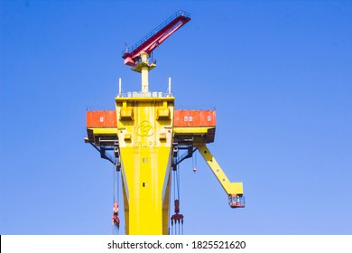 27 September 2020 Close up shot of the driver's cab and bridge girders of Sampson a massive shipbuilding crane located at harland and Wolff's shipyard in Belfast northern Ireland
