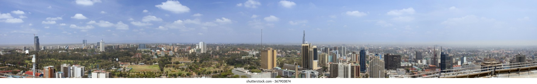 270 degree aerial panorama of Nairobi, Kenya