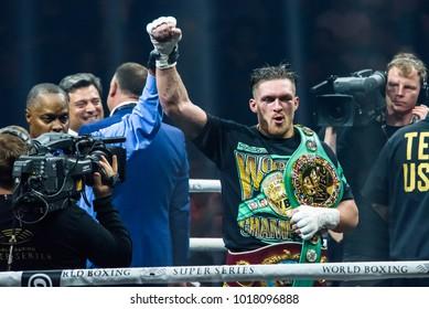 27.01.2018. RIGA,LATVIA. Oleksandr Usyk, after win at World Boxing Super Series semi final fight between Mairis Briedis and Oleksandr Usyk. Arena Riga.