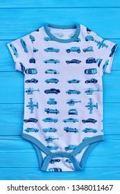 27.04.2018 - Kyiv, Ukraine. Baby boy transport print bodysuit. Newborn boy printed romper, front view. Infant boy summer outfit. Toddler boys summer outfit.