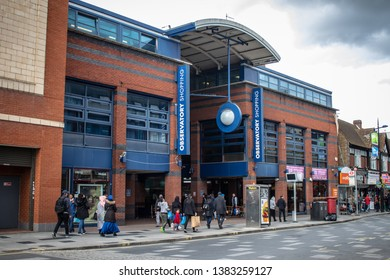 27/04/2019 Slough,Berkshire ,England.  Entrance to Observatory shopping centre on High street in Slough . Multicultural city.