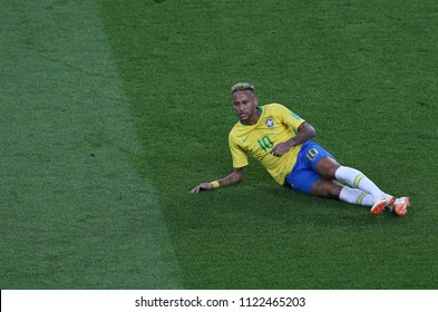 27.06.2018. MOSCOW, Russian:NEYMAR  in action during the Fifa World Cup Russia 2018, Group E, football match between SERBIA VS BRAZIL in SPARTAK Stadium IN  MOSCOW.
