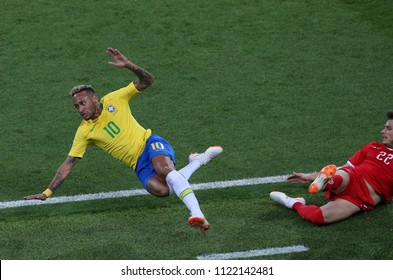 27.06.2018. MOSCOW, Russian:NEYMAR, LULIC  in action during the Fifa World Cup Russia 2018, Group E, football match between SERBIA VS BRAZIL in SPARTAK Stadium IN  MOSCOW.