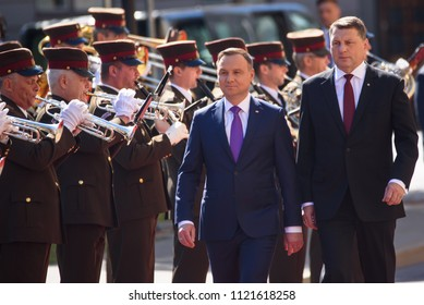 27.06.2018. RIGA, LATVIA.  Andrzej Duda un Raimonds Vejonis, President of Latvia. President of Poland Andrzej Duda and Mrs Agata Kornhauser-Duda arrives in Riga for official State visit in Latvia.