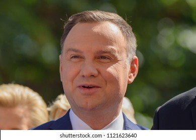 27.06.2018. RIGA, LATVIA. President of Poland Andrzej Duda and Mrs Agata Kornhauser-Duda arrives in Riga for official State visit in Latvia.