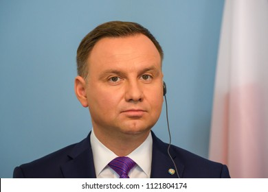 27.06.2018. RIGA, LATVIA. President of Poland Andrzej Duda and  President of Latvia Raimonds Vejonis press conference, during official State visit in Riga, Latvia.