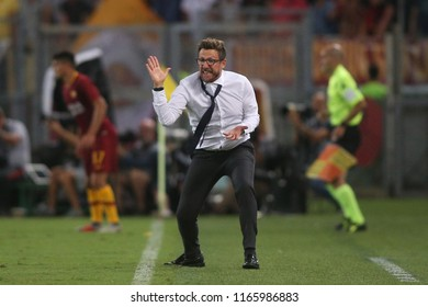 27.08.2018. Stadio Olimpico, Rome, Italy. SERIE A: EUSEBIO DI FRANCESCO in action during the ITALIAN SERIE A match between A.S. ROMA V ATALANTA at Stadio Olimpico in Rome.