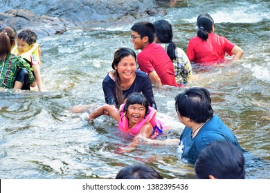 27/08/2019 Kang Sam Chan waterfall nakornnayok city thailand people play waterfall very happy