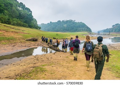 27/10/2016 Periyar National Park India tourists trekking across countryside