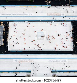 27-1-2018, Amsterdam, Holland. Aerial view of ice skating rink in Olympic Stadium. The track is called the 'Coolste baan van Nederland'. The ISU World Allround Championships speedskating are in March.