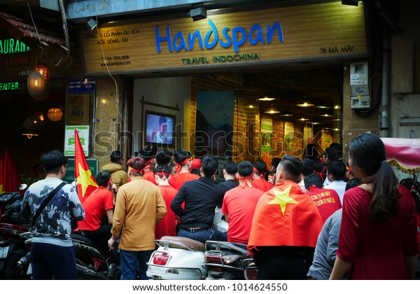 2712018 Hanoivietnam Vietnamese Football Fans Gathering