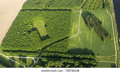27-5-17  Almere, Holland. Aerial view of the The Green Cathedral. It is landscape architecture. The forest has the shape of the Notre-Dame in Reims. Next to it is the negative cut out in the woods.