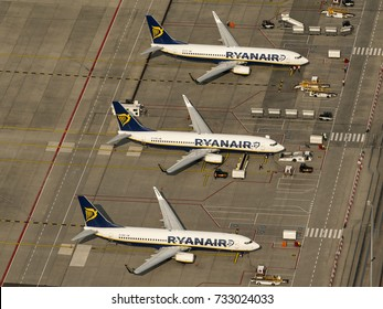 27-9-2017, Eindhoven, Holland. Aerial view of three Ryanair Boeings at the gate at Eindhoven Airport.