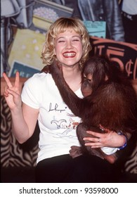 27FEB98:  Actress DREW BARRYMORE at Planet Hollywood Beverly Hills for launch of new t-shirt she designed to benefit the Wildlife Waystation.