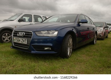 27th August 2018- An Audi A4 TDI estate carin the public parking area at a country show in Pontarulias, Carmarthenshire, Wales, UK.