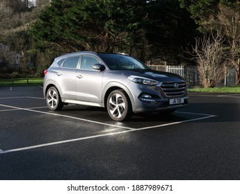 27th December 2020- A sporty Hyundai Tucson Premium SE B-Drive 2WD CRDi, five door compact family SUV, in the village carpark at Amroth, Pembrokeshire, Wales, UK