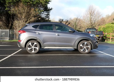 27th December 2020- A stylish Hyundai Tucson Premium SE B-Drive 2WD CRDi, five door compact SUV, parked in the public carpark at Amroth, Pembrokeshire, Wales, UK.
