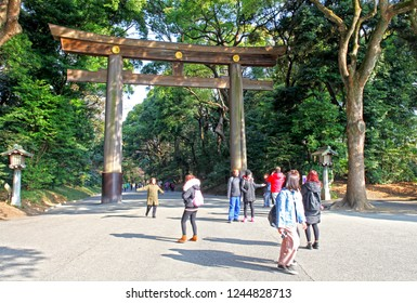 27th February 2018, Shibuya, Tokyo, Japan.  This huge wooden torii gate is at he entrance to the Meiji Jingu Shrine. Torii is the japanese word for gate and associated with Shinto shrines in Japan.