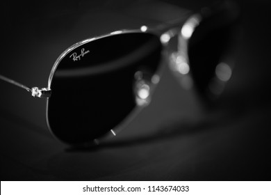 27th - July - 2018 - Staffordshire, Ray ban aviator sunglasses on a black background, black and white