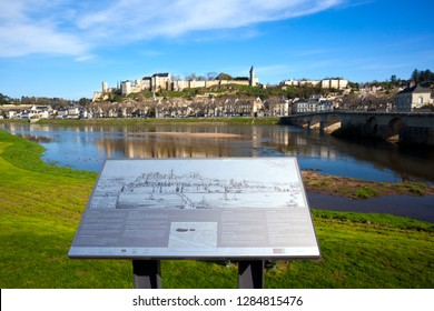 27th March 2017 - Chinon, FRance: Beautiful spring morning sunshine in Chinon town and chateau on the hill above by the banks of the Vienne River, Indre-et-Loire, France.