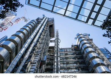 27th May 2017 - View looking upwards at the Lloyd's Building in London's Financial District, London, England, UK