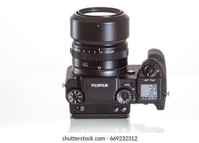 28. 05. 2017, Zagreb, CROATIA: Fujifilm GFX 50S, 51 megapixels, medium format sensor digital camera with 63 mm G-mount lens on white reflecting background