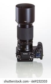28. 05. 2017, Zagreb, CROATIA: Fujifilm GFX 50S, 51 megapixels, medium format sensor digital camera on white reflecting background with 100 mm G-mount lens