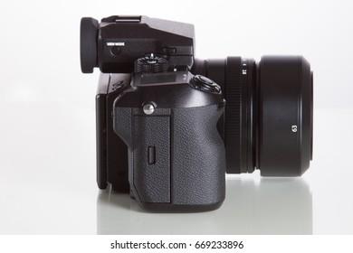 28. 05. 2017, Zagreb, CROATIA: Fujifilm GFX 50S, 51 megapixels, medium format sensor digital camera on in secure case white reflecting background