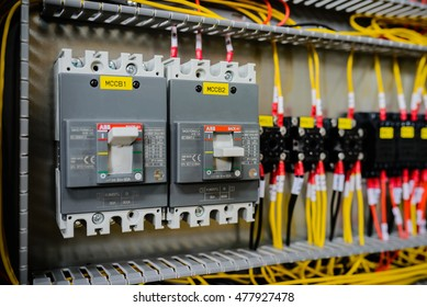 28 April 2016 in Hanoi Vietnam, Branch ABB electric circuit breakers in a electrical switchboard
