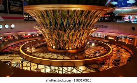 28 April, 2019 - Abu Dhabi, UAE: International Abu Dhabi Airport Terminal 1A interior hall